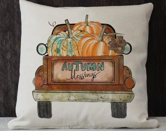 Autumn Blessings vintage truck twill throw pillow