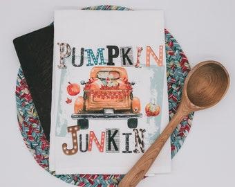 Pumpkin Junkin Autumn Tea Towel -   premium flour sack dish towel old truck of pumpkins fall decor