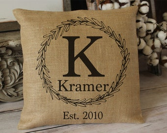 Personalized monogrammed burlap throw pillow - entryway bench or housewarming gift