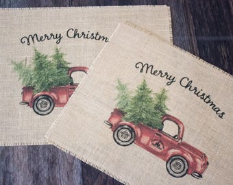 READY TO SHIP! Vintage truck set of two burlap placemats