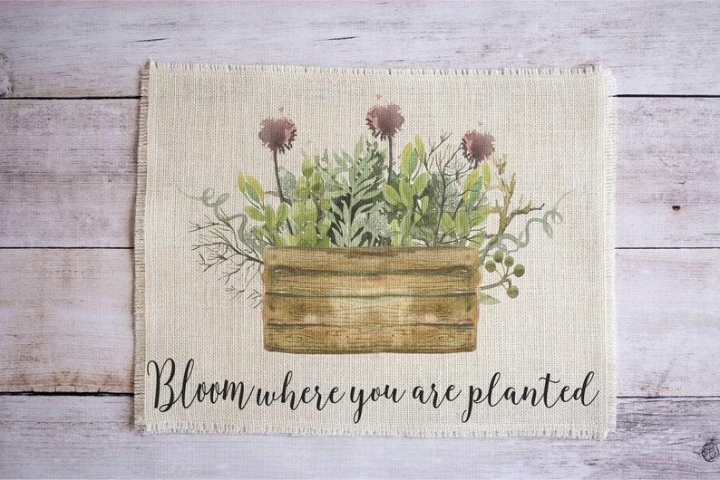 Bloom where you are planted placemats  set of two cottage image 0