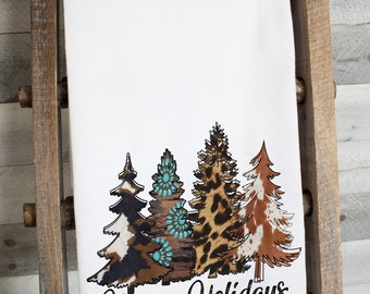 Happy Holidays Western Christmas Trees Dish Towel -   premium flour sack tea towel Holiday kitchen decor winter decorations