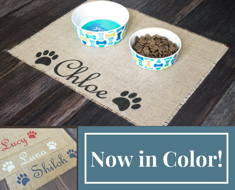 Custom colored puppy dog pet placemat for dog food bowls  image 0
