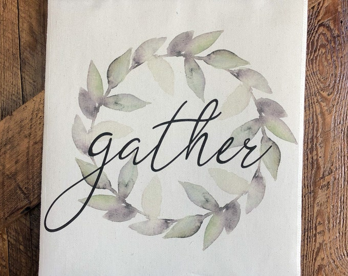 Featured listing image: Gather Farmhouse style Wreath Canvas Sign
