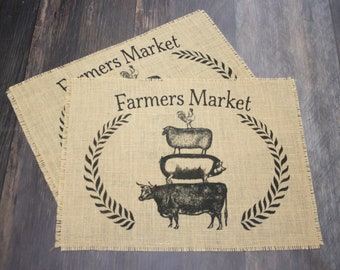 Farmers Market burlap placemats - set of two farmhouse style decor gift idea