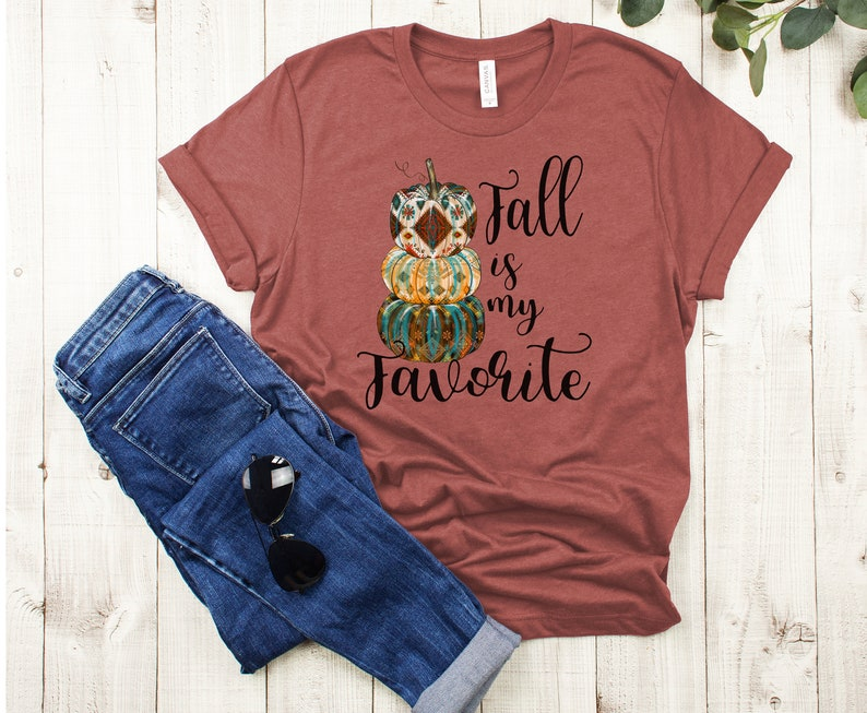 Fall is my Favorite  t-shirt  pumpkin stack autumn tee image 0