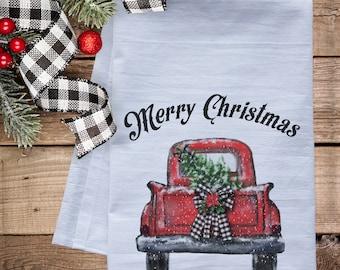 Merry Christmas Truck Dish Towel -  premium flour sack tea towel