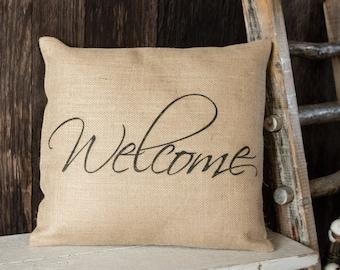Welcome burlap throw pillow - entryway bench or housewarming gift