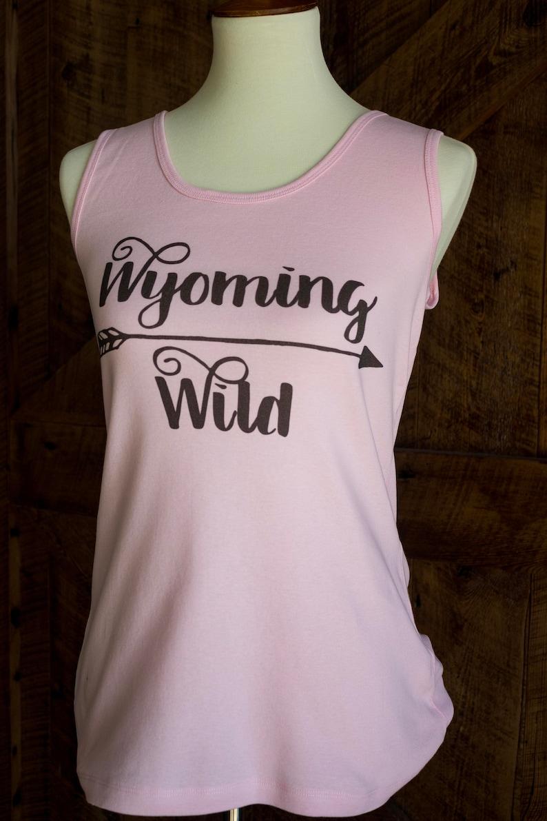 Wyoming Wild tank - pink & brown ladies tank top FREE SHIPPING