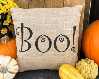 Boo! burlap throw pillow Halloween decor