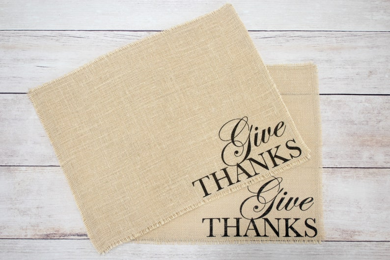 Give Thanks burlap placemats image 0