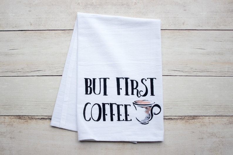 But First Coffee  premium tea towel image 0