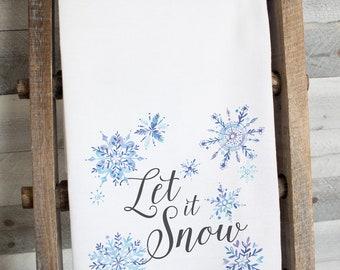 Let It Snow Dish Towel -  premium flour sack tea towel