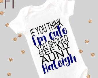 New Aunt Shirt Cute Aunt Custom Nephew Bodysuit Baby Shirt bodysuit