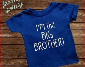 I'm the big brother Shirt Big Bro Shirt Boys Shirt Royal Blue with White New Brother shirt