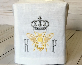 Queen Bee Monogrammed Linen Tissue Box Cover. Powder Room. Wedding Gift. Hostess Gift. Personalized Boutique Gift. Crown. Honey Bee