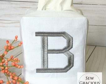 Single Initial Monogram Linen Tissue Box Cover. Dorm Decor. Bathroom Decor. Powder Room. Hostess Gift. Choose your Font