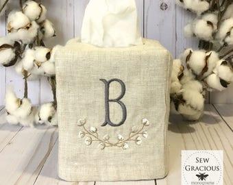 Cotton Boll Monogram Linen Tissue Box Cover. Farmhouse Cotton Branch. Bathroom Decor. Powder Room. Hostess Gift.Southern Decor.Natural Linen