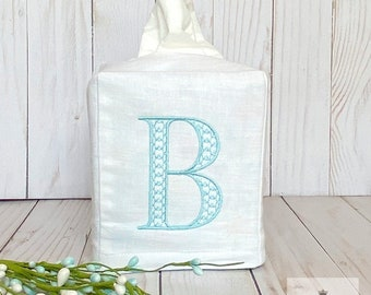 Monogrammed Tissue Box Cover, Personalized Gifts, Single Initial Monogram, Powder Room, Bathroom Decor, Linen Wedding Gift