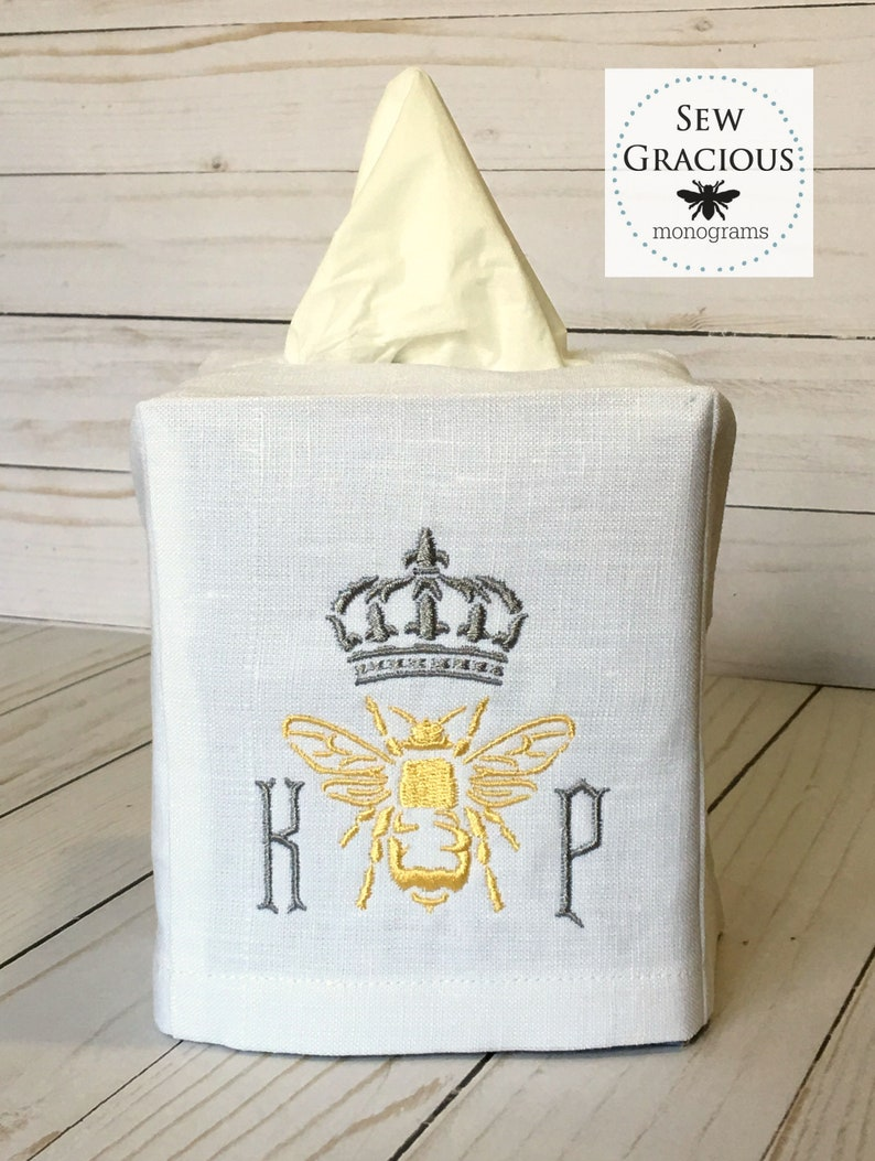 Queen Bee Monogrammed Linen Tissue Box Cover. Crown & Honey image 0