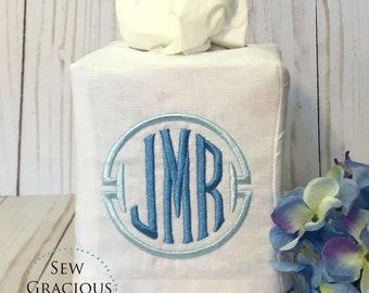Custom Monogrammed Linen Tissue Box Cover, Personalized Wedding Gift, Powder Room, Guest Room, Bathroom Decor, Hostess Gift