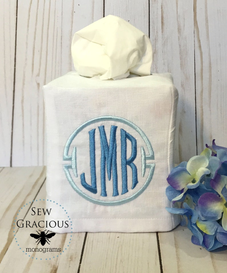 Monogrammed Tissue Box Cover. Wedding Gift. Powder Room. Guest image 0