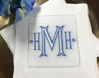 Chinoiserie MONOGRAM Cocktail Napkins. Wedding Gift. White Linen Hemstitch. BAROQUE Font. Housewarming Hostess Gift. Bar Cart Decor.