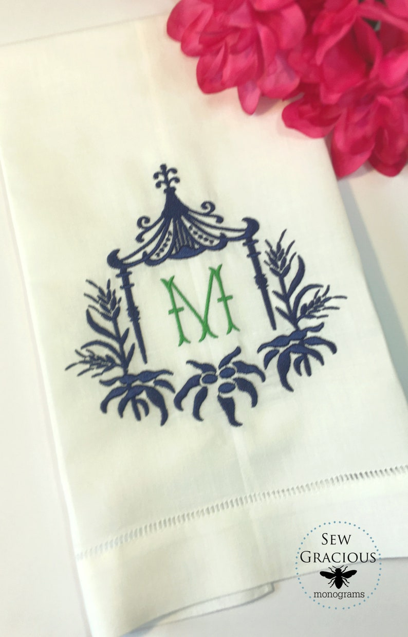 Linen Guest Towel. Monogrammed Personalized Gifts. Chinoiserie image 0