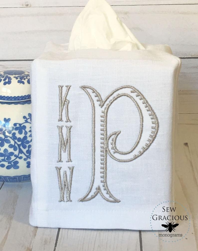 4 Letter Monogram Tissue Box Cover Kleenex Box Cover Powder image 0