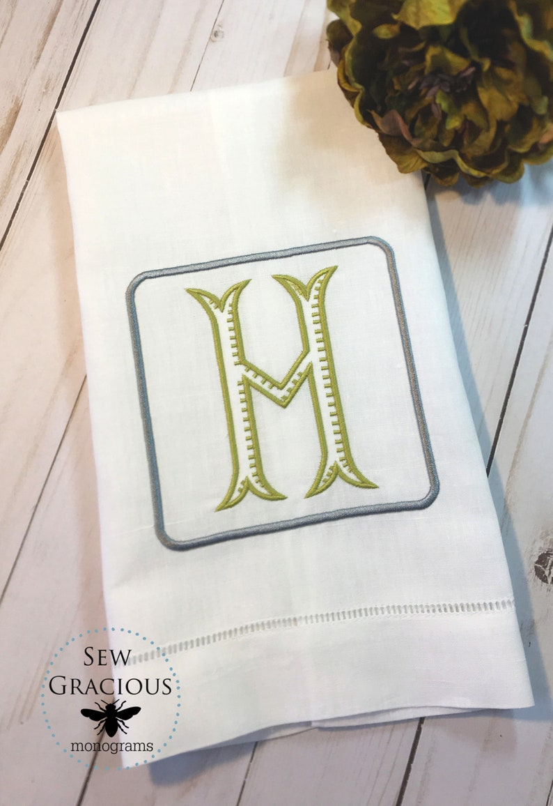 Monogram Initial Linen Guest Towel. Chinoiserie Decor. Powder image 0