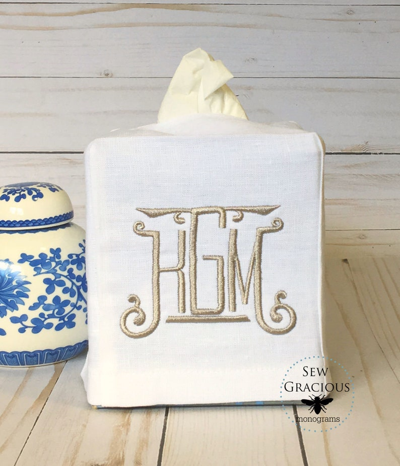 Monogram Tissue Box Cover. Personalilzed Gift. Hostess Gift. image 0