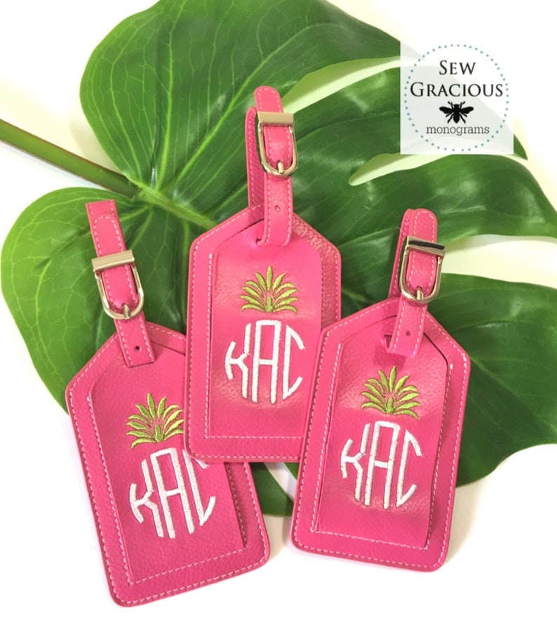 Pineapple Monogram Personalized Luggage Tag. Spring Break image 0
