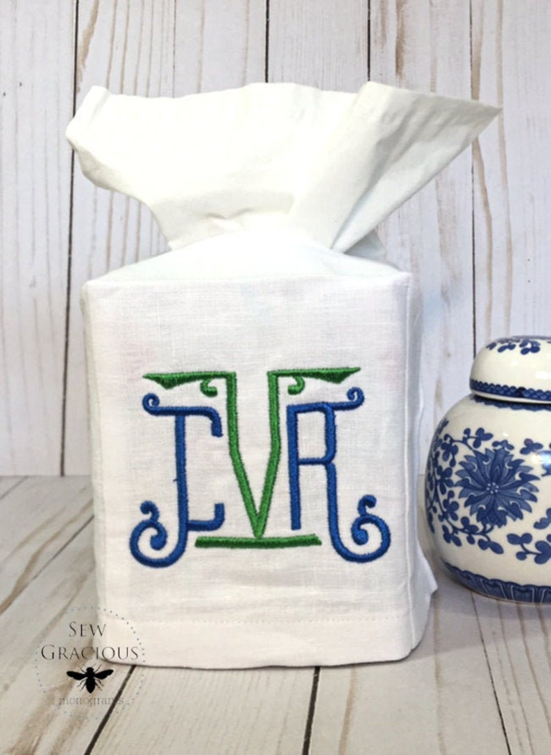 Monogram Tissue Box Cover. Personalilzed Gift. Hostess Gift. image 0
