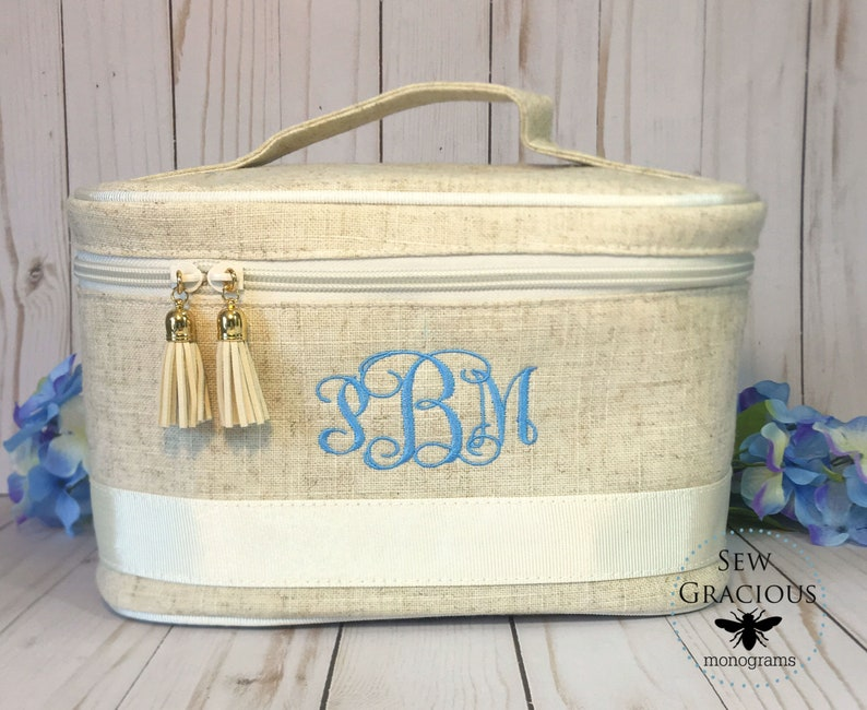 Monogrammed Train Case. Travel Toiletry & Cosmetic Bag. image 0