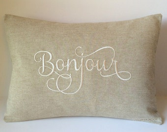 Bonjour Pillow Cover 12 x 16. French Country Decor. Hello Foreign Language Throw. Farmhouse Decor. Decorative Throw Pillow. Housewarming