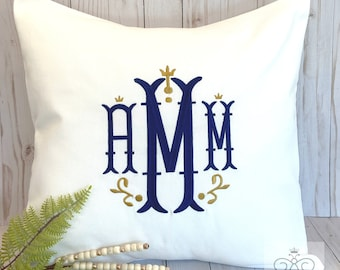 """Monogrammed Pillow Cover, Baby Gift, White Nursery Decor, Dorm Decor, Personalized Wedding Gift, made to fit 18x18"""" pillow insert"""