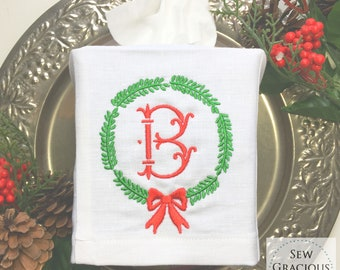 Monogrammed Tissue Box Cover, Christmas Wreath. Hostess Gifts, Bathroom Decor, Personalized GiftS