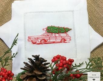 Christmas Holiday Linen Cocktail Napkins, Christmas Vacation Station Wagon, Family Christmas Tree, Vintage Car, Hostess Gift, Holiday Decor