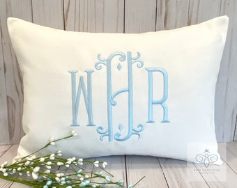 Monogrammed Pillow Cover, Personalized Wedding Gift, Baby Gift, Lumbar Pillow, Dorm Decor, Vienna font, made to fit a 12x16 insert