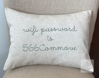 WiFi Password Embroidered Pillow Cover, WiFi Sign In for Guests, Unique Gifts, Made to fit a 12x16 insert
