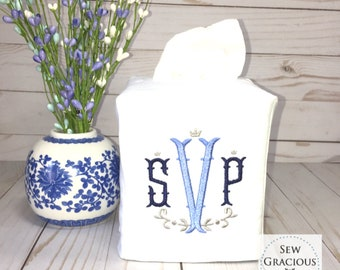 Monogram Tissue Box Cover. Nola Font. Powder Room. Guest Room. Bathroom Decor. Wedding Gift. Hostess Gift. Personalized Boutique Gift.