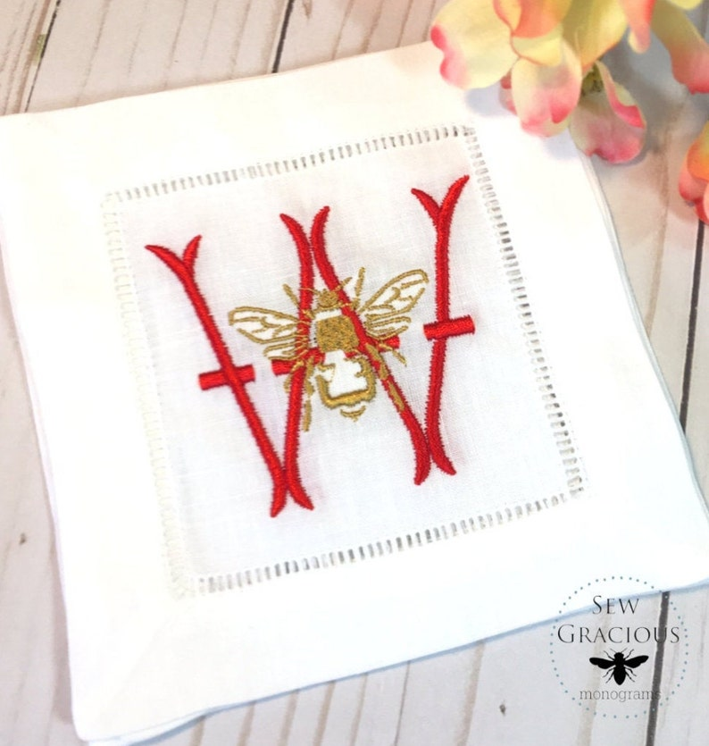 Monogrammed Cocktail Napkins Queen Bee and Initial  Wedding image 0