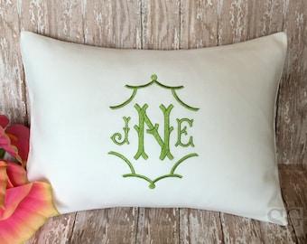 Monogram Pillow Cover, Chinoiserie style Pagoda font, Wedding Gift, Nursery Decor. Lumbar Pillow Cover fits 12x16 pillow insert, Dorm Decor