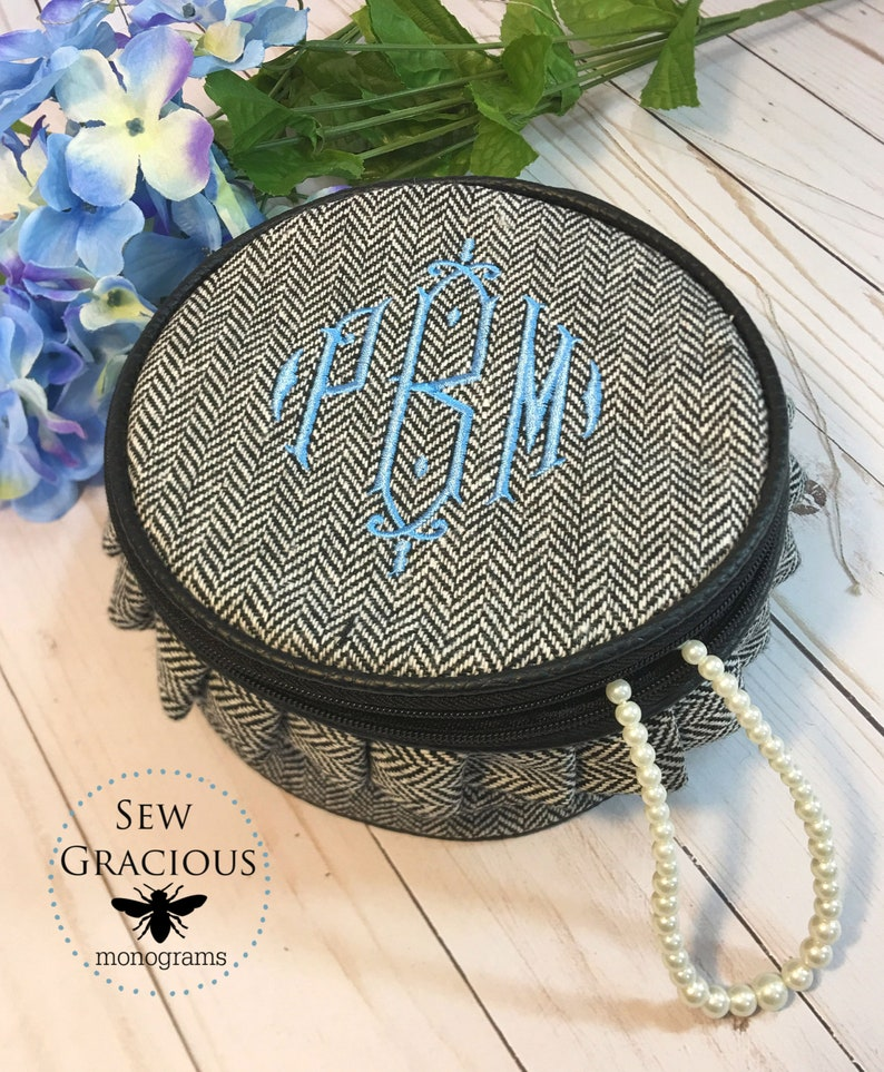 Personalized Jewelry Case. Monogrammed Round Travel Case. image 0