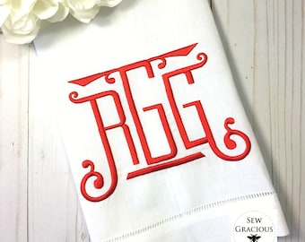 Chinoiserie Monogram Linen Hemstitch Guest Towel. Powder Room Decor. Bar Cart Accessories. Hostess Gift. Wedding Gift. Embroidered Linens