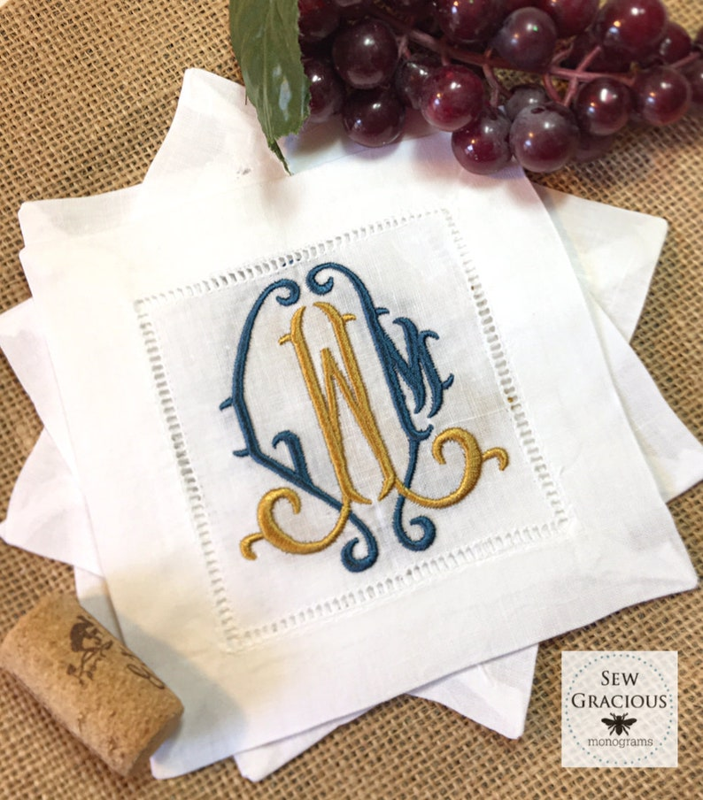 Chinoiserie MONOGRAM Cocktail Napkins with 2 color embroidery. image 0