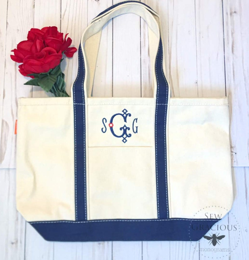Canvas Tote Bag Personalized Beach Bag Monogrammed Gift image 0
