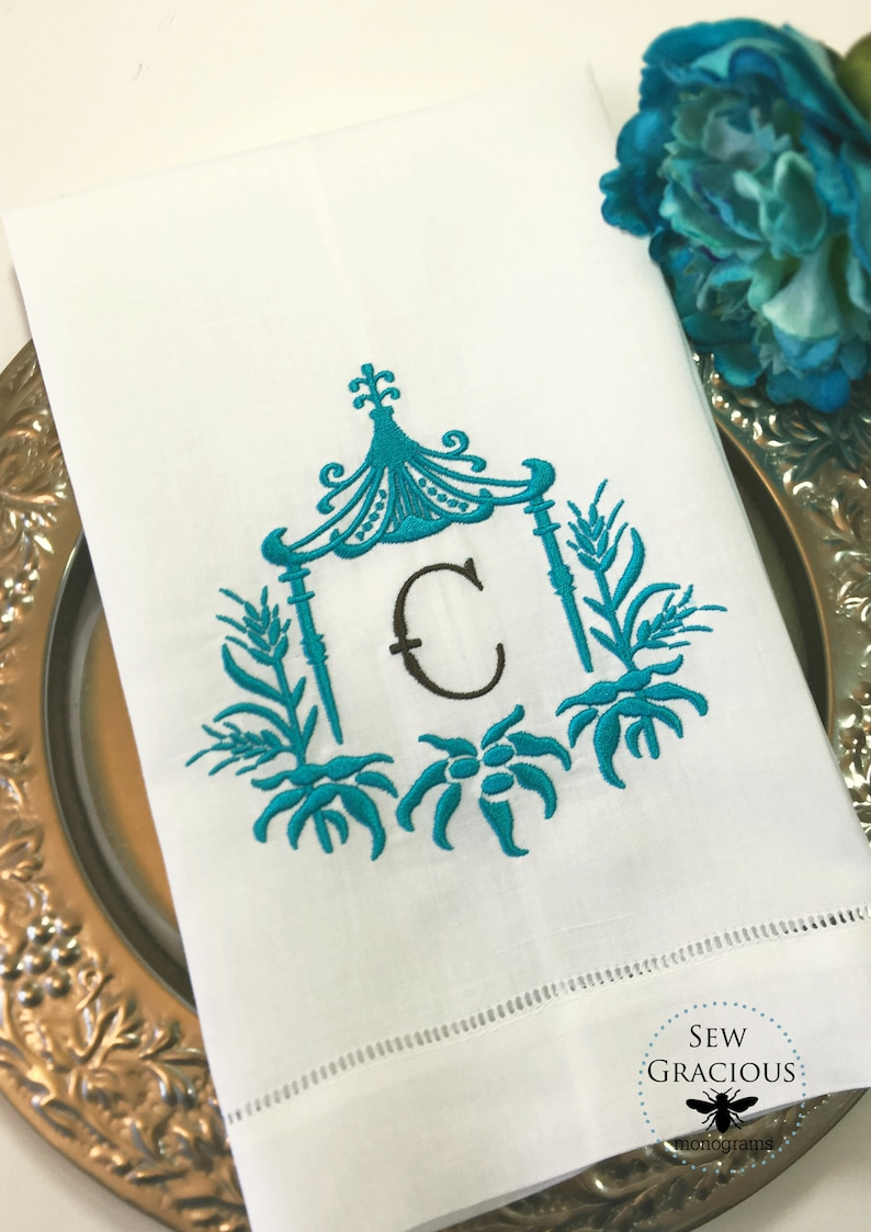 Monogrammed Guest Towel Tea Towel Personalized. Hostess Gift image 0