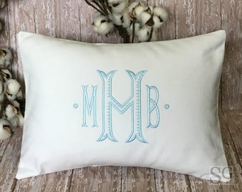 Monogrammed Pillow Cover, Personalized Wedding Gift, Baby Gift, Lumbar Pillow, Dorm Decor, Baroque font, made to fit a 12x16 insert