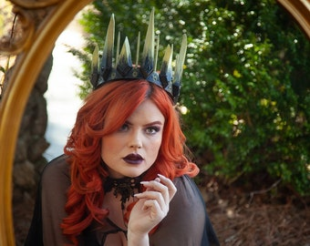 Evil Queen Crown, Black and Gold Gothic Crown, Witch's Crown, Spike Crown